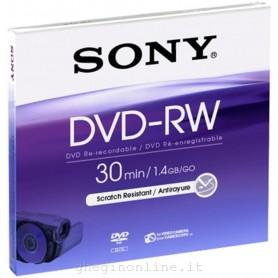 DVD MINI REGISTRABILE DVD-RW 1.4GB 30MINUTI 8CM