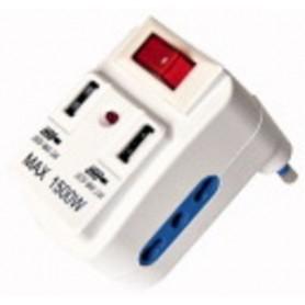 PRESA MULTIPLA 2POSTI 10A PIÙ DUE USB 2,4A