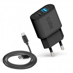CARICATORE DA RETE CON 2 USB DA 2100MHA CAVO TYPEC