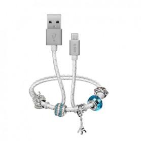 CAVO DATI USB 2.0 A MICRO USB CON PENDENTI BLU