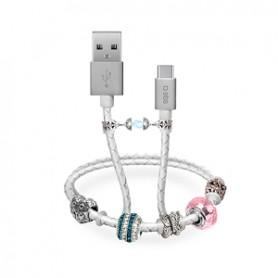 CAVO DATI USB 2.0 A MICRO USB CON PENDENTI BIANCO