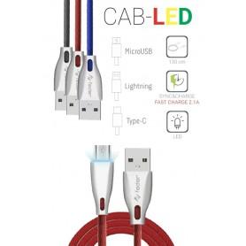CAVO DATI USB MICRO USB 1,3MT CON LUCE LED ROSSO